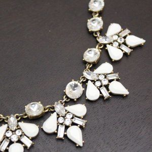 J Crew White and Gold Statement Necklace